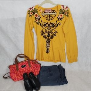 JW JOHNNY WAS  yellow embroider long sleeve top M
